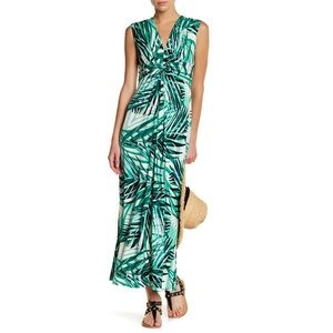 NEW Eliza J Twist Jersey Palm Print Maxi Dress